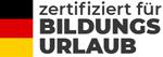 Deutschland Flagge mit Logo für: zertifiziert für Bildungsurlaub.