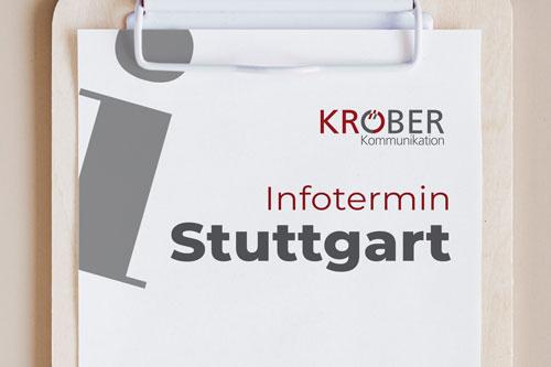 """Ein Clipboard auf dem """"Infortermin Stuttgart"""" steht. In der rechten oberen Ecke ist das Kröber Kommunikations Logo"""